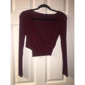 Burgundy Wrap Crop with Long Sleeves